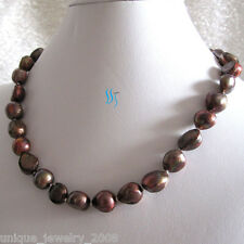 """18"""" 11-12mm Chocolate Baroque Freshwater Mother of Pearl Necklace Dyed Color"""
