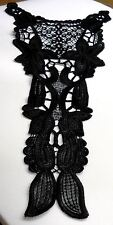 Embroidered Victorian Bodice Neck Yoke Applique Rayon Venice Lace Black #BB1