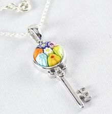 Genuine Murano Millefiori Glass Key Necklace 925 Sterling Silver 18