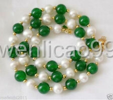 7-8mm White freshwater Cultured  Pearl & geen jade Necklace 18""
