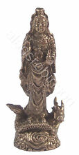 Mini brass Quan Yin on dragon buddha Quanyin goddess of mercy buddhist kuan yin