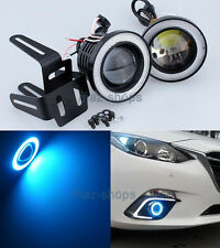 "2Pcs Ice Blue 3"" Projector Fog Light w/ COB Halo Angel Eyes Rings For Dodge N"
