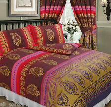 KASHMIR MAROON WINE GOLD RED VINTAGE MIDDLE EASTERN ETHNIC FLORAL DOUBLE BED SET