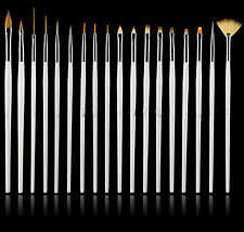 New White 15Pc Nail Art Painting Designing Dotting Striping Brush Set