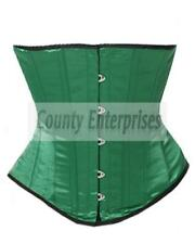Full Steel Bone Spiral Basque Bustier Gothic Shaper Underbust Green Satin Corset