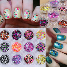 12 Colors/set Ultrathin Nail Art Sequins 1/2/3mm Mixed Multi-color Manicure Tips