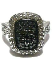 ESTATE STERLING SILVER BLACK AND WHITE DIAMOND WOMENS RING BAND SIZE 7.25