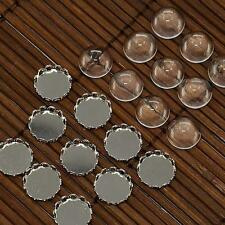 10Set 12mm Clear Domed Magnifying Glass Cabochon Cover DIY Pendant Tray Platinum