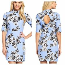 Size 18 Simply Fab Blue Flower Cut Out Back 60's Style DRESS Summer Party Be £49