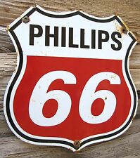 PHILLIPS 66 GASOLINE PORCELAIN ENAMEL SHIELD OIL GAS PUMP LUBESTER METAL SIGN