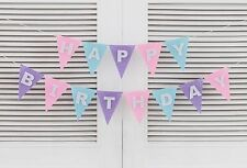 Happy Birthday Bunting Pastel Triangle Flags Banner Party Supplies Decorations