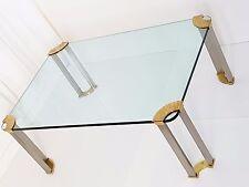 PETER GHYCZY : TABLE BASSE RECTANGULAIRE LAITON ACIER BROSSE VERRE VINTAGE 1970