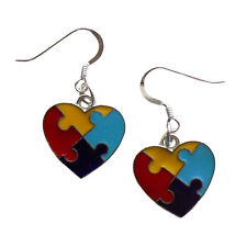 Autism Awareness Earrings 925 Sterling Silver Earwires Heart Charm IN GIFT BOX