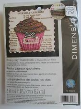 "Dimensions Stamped Cross Stitch Kit ""Everyday Cupcakes"" Catherine Holman 6x6 NOS"