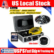 """NEW 50M/164ft Sewer Pipe Pipeline Drain Inspection Snake Cam 8GB DVR+7"""" Monitor"""