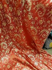 """1M RED /Gold COLOUR floral Chinese Brocade Fabric Shiny Silky,  material 45""""wide"""
