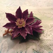 Lenox Clematis Figurine - 2004 Purple Flower - With COA - Small Chip