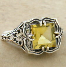 GENUINE CITRINE ANTIQUE DESIGN 925 STERLING SILVER RING SIZE 5.75,  #726