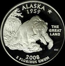 2008 S 90% Silver Alaska State Quarter Deep Cameo Gem Proof No Reserve