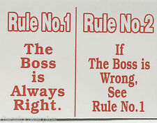 funny man cave sign plastic RULE NO.1 THE BOSS IS ALWAYS RIGHT NO.2 IF WRONG SEE