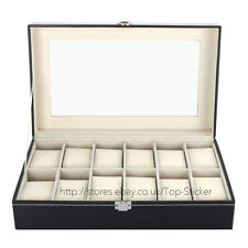 Black 12 Leather Mens Watch Box Display Case Organizer Jewelry Storage Holder GB