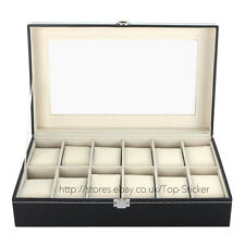 12GRID Faux Leather Mens Watch Box Display Case Organizer Jewelry Storage Holder