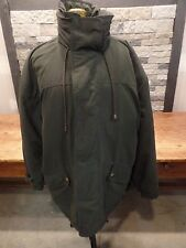 Nautica Jacket Coat Olive Green Polyester Leather Collar Stow Away Hood Men's L