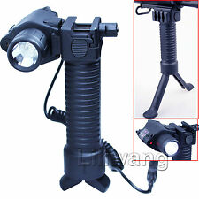 Tactical Rifle Foregrip Bipod Fore Grip + Red Laser Sight + CREE LED Flashlight