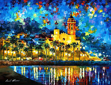 "Spain, Sitges — Palette Knife Oil Painting On Canvas By Leonid Afremov 40""x30"""