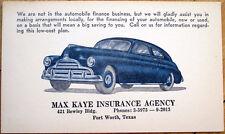 1930s Car Insurance Advertising Postal Card - Fort Worth, Texas TX