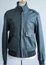 NEW BANANA REPUBLIC Gray-Green Leather Flight Bomber Jacket Size Medium