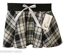 Christmas Girls Tartan Mini Short Check Pleated Skirt With Bow Age 5-10 Years