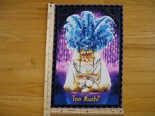 Party Cat Too Much? Headdress Feathers Jewel Necklace  Cotton Quilt Fabric Block