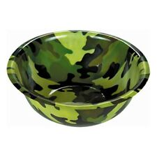 """Army Forces Camouflage Party LARGE 11.5"""" Round Plastic Punch Snack Bowl"""