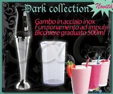 FRULLATORE IMMERSIONE MINIPIMER IMETEC DARK COLLECTION GAMBO LAME ACCIAIO INOX