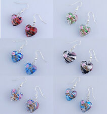 Wholesale HOT SALE ! Bulk 6 Pairs Murano Lampwork Glass Lovely Heart Earrings