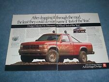 "1991 Dodge Dakota V8 Vintage 2pg Ad ""After Dragging it Thru the Mud..."""