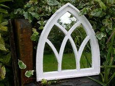 ARCHED WHITE GOTHIC MIRROR GLASS PANE GARDEN MIRROR OR INDOOR DISTRESSED LOOK