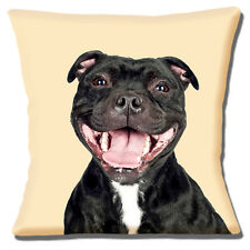 "BLACK WHITE STAFFIE BULL TERRIER DOG  LAUGH PHOTO PRINT 16"" Pillow Cushion Cover"
