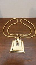 """Monet Gold Tone Modernist Pendant Necklace with 27"""" Long Snake Chain"""
