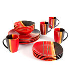 16 Pc Dinnerware Red Dinner Salad Plates Bowls Mugs Stoneware Dining Service Set