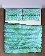 Indian Tie Dye Shibori Bedspread Cotton Green King Bedding With Two Pillow Cover