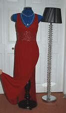 New Sz 8-12 Autograph LRD Red Jersey Full length maxi Dress silver sequin empire