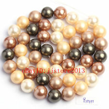 8mm Pretty Multicolor Shell MOP Round Shape Gemstone Loose Beads Strand 15""