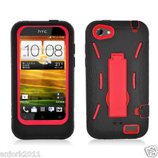 HTC ONE V HYBRID HARD CASE SKIN COVER w STAND ACCESSORY BLACK RED