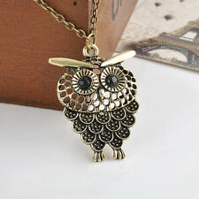 Chic Women Cute Vintage Bronze Owl Pendant Long Sweater Chain Necklace Jewelry