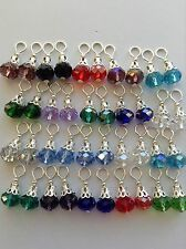 20 Pairs Different colors Beautiful Crystal Earring Charms Silver Plated Jewelry