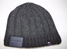 NWT TOMMY HILFIGER One Size Men's Charcoal Gray LOGO Cable Knit Lined Winter Hat