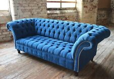 MODERN HANDMADE TEAL BLUE VELVET CHESTERFIELD SOFA COUCH CHAIR 3 SEATER