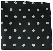 New Men's Polyester Dots Pattern Pocket Square Hankie Only Black/ White Dots